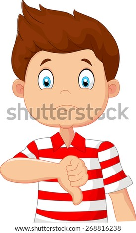 Cartoon boy giving thumb down - stock vector