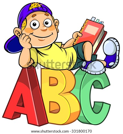 Cartoon boy holding a book and sitting on ABC alphabet letters. - stock vector