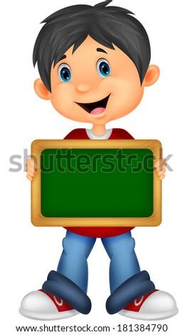 Cartoon boy holding board - stock vector