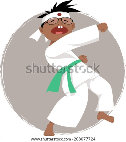 Cartoon boy in glasses doing karate, vector illustration, no transparencies  - stock vector