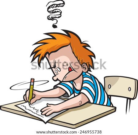 Cartoon Boy in Grade school writing a paper. Vector file available. School Boy writing - stock vector