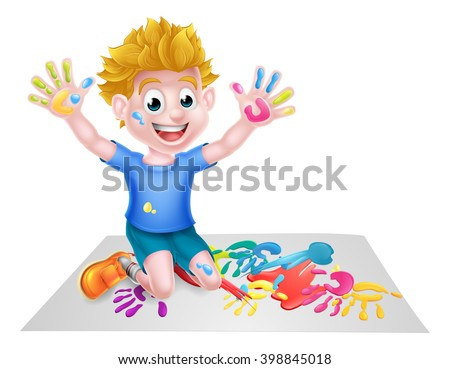 Cartoon boy kid messy playing with paint painting - stock vector