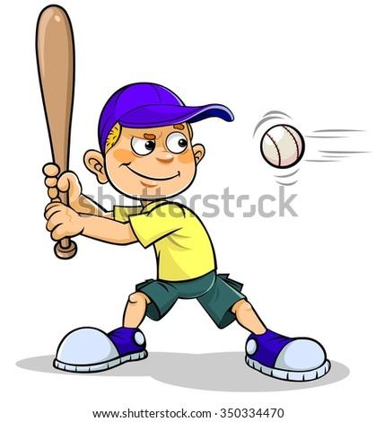 Cartoon boy playing Baseball - stock vector