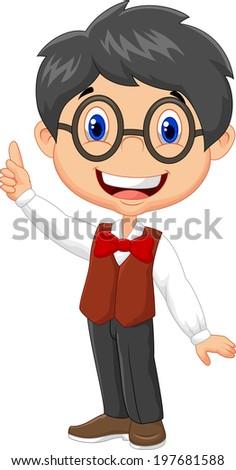 Cartoon boy pointing his finger - stock vector