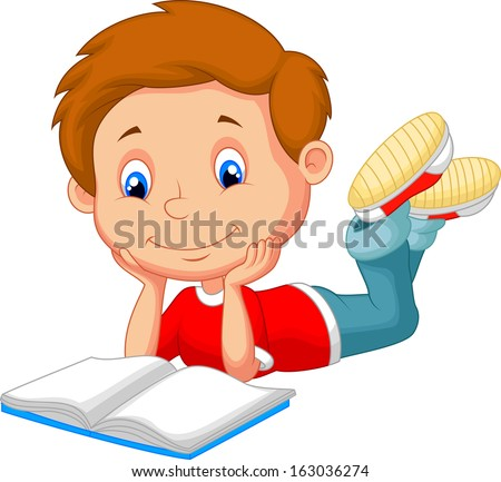 Cartoon boy reading book - stock vector