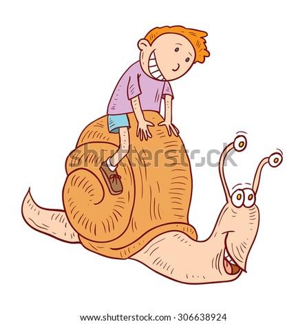 cartoon boy ride snail,  vector illustration. - stock vector