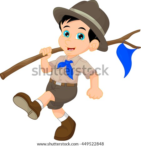 Cartoon boy scout holding blue flag