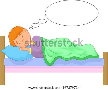 Cartoon boy sleeping - stock vector