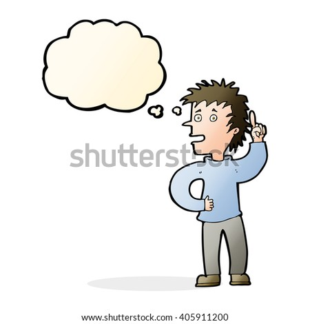 cartoon boy with idea with thought bubble - stock vector