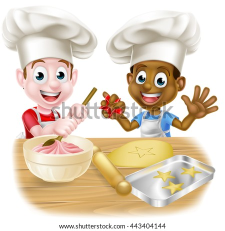 Cartoon boys, one black one white, dressed as chefs or bakers baking cakes and cookies in chef hats - stock vector