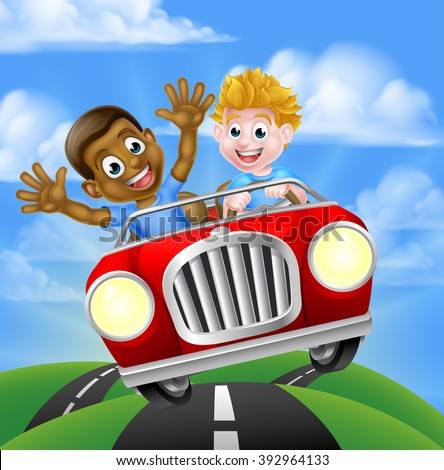 Cartoon boys, one black one white, having fun driving fast in a car on a road trip