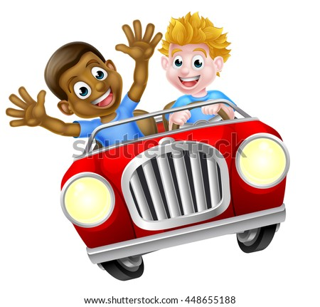 Cartoon boys, one black one white, having fun driving fast in a red car