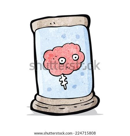 cartoon brain in jar - stock vector