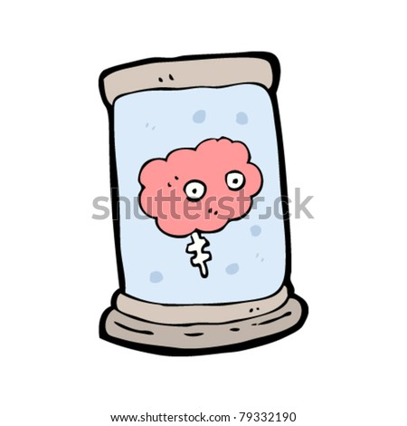 cartoon brain in jar