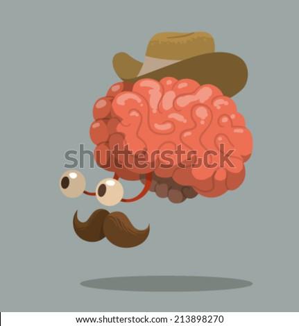 Cartoon brain, vector - stock vector