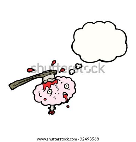 cartoon brain with axe in - stock vector