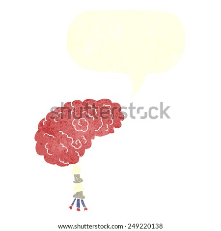 cartoon brain with speech bubble - stock vector
