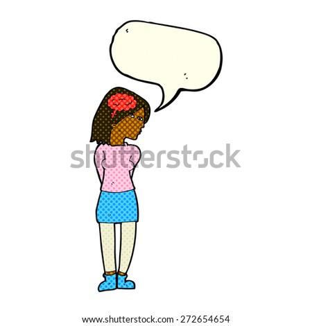 cartoon brainy woman with speech bubble - stock vector