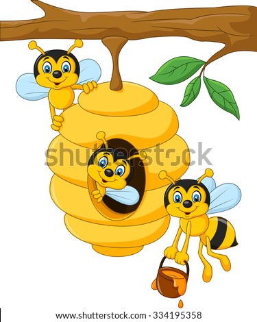 Cartoon branch of a tree with a beehive and a bee - stock vector