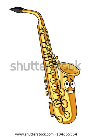 Cartoon brass saxophone with a smiling face for musical design isolated on white - stock vector