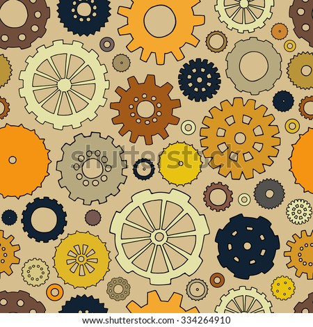 Cartoon bright seamless pattern with doodle gears. Can be used for wallpaper, pattern fills, web page background, surface textures. Hand-drawn mechanical vector with collection of hand drawn cogs. - stock vector