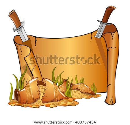 cartoon broken jars with gold near vintage open scroll banner attached by two knives. Game style - stock vector