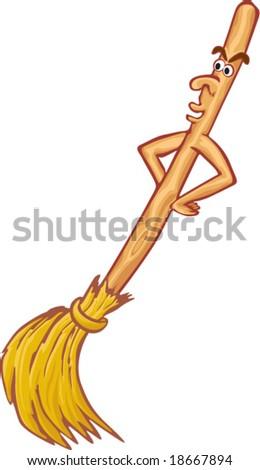 Cartoon broom - stock vector