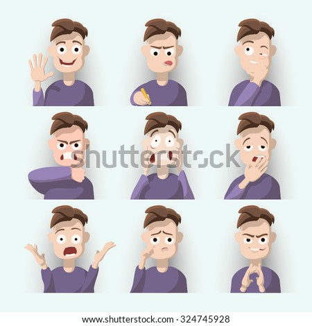 Cartoon brown haired young man on nine different face expressions collection