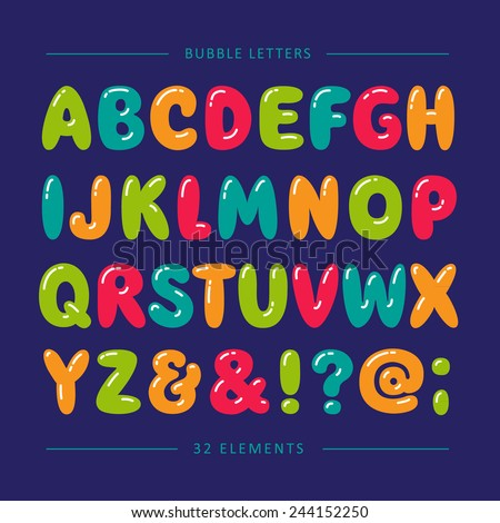 Cartoon bubble font. Colorful letters with glint - stock vector