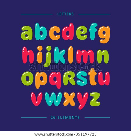 Cartoon Bubble Font Colorful Lowercase Letters With Glint