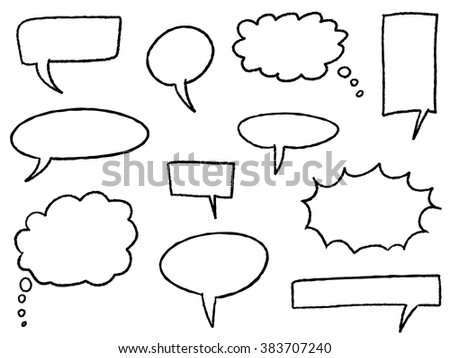 Cartoon bubbles - speech and thought bubble set.