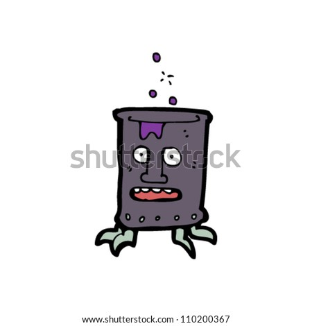 cartoon bubbling chemical character