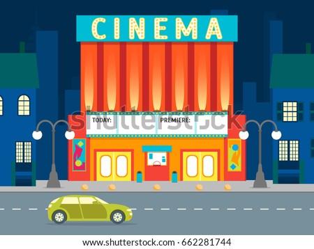 Cartoon Cinema Tickets Big Set Flat Stock Vector 609164642 ...  Cinema Building Cartoon
