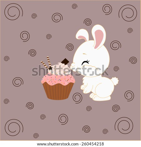 Cartoon bunny and a cake with brown background