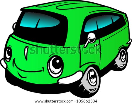 Cartoon bus - stock vector