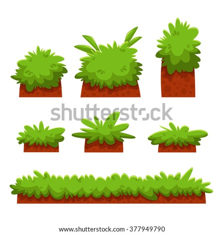 Cartoon Bushes, Hedges And Grass Leaves Set/ Illustration of a set of cartoon spring or summer and green icons, with bush, hedges for ui game - stock vector