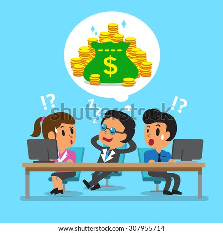 Cartoon business boss falling asleep and dream about money - stock vector