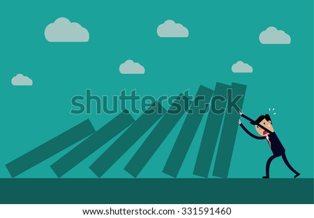 Cartoon business executive pushing hard against falling deck of domino tiles. Creative vector illustration for concept on determination and resilience  - stock vector