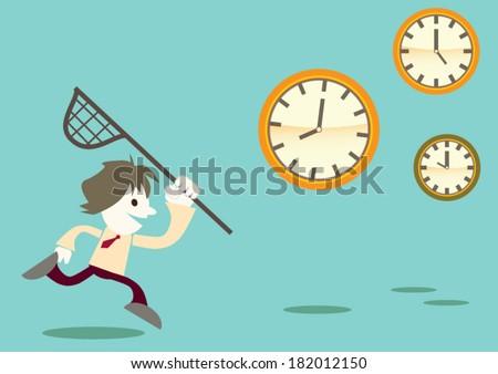 Cartoon business man run & catch clock, time concept - stock vector