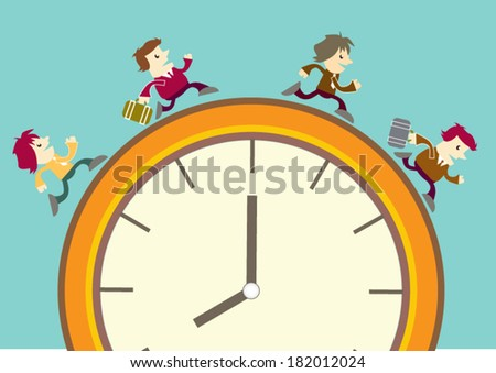 Cartoon Business man run on the clock, time concept  - stock vector