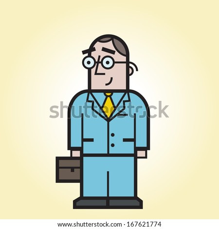 Cartoon business man with a suitcase - stock vector