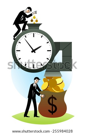Cartoon business people makes investments. Investment concept. - stock vector