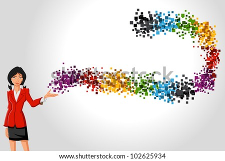 Cartoon business woman with a wave of colorful dots - stock vector