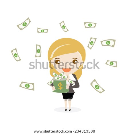 Cartoon business woman with money bag and flowing dollar note.vector design illustration. - stock vector