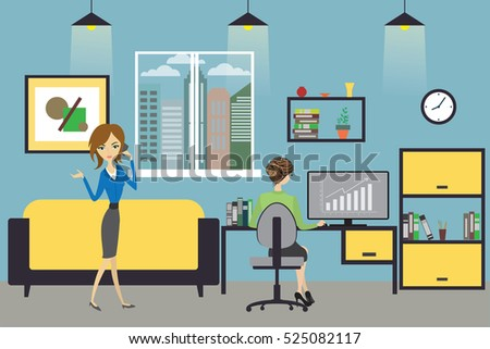 Cartoon business woman  working at home or modern office, Business woman speaks on the phone, interior design with furniture,flat vector illustration