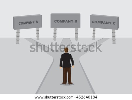 Cartoon business worker stands in the middle of cross roads leading to sign of companies. Vector cartoon illustration on job or career decision concept. - stock vector