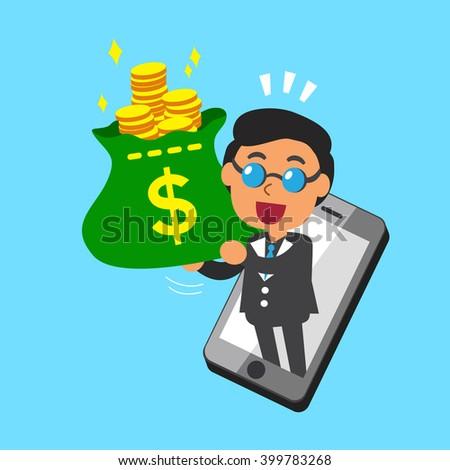 Cartoon businessman and smartphone - stock vector