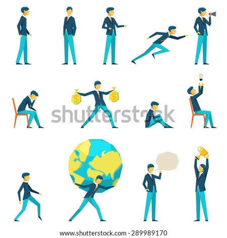 Cartoon businessman character in various poses. Motivation and inspiration, thinking and earnings, vector illustration - stock vector