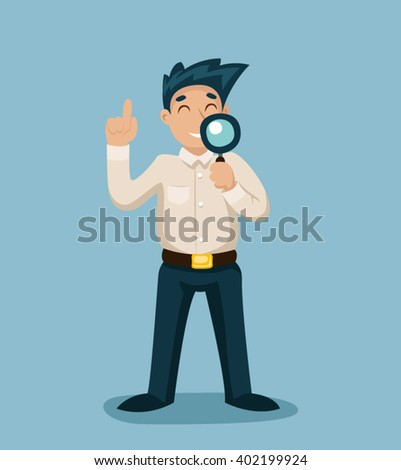 Cartoon Businessman Character Magnifying glass Icon Search Symbol Stylish Background Retro Vintage Design Vector Illustration - stock vector
