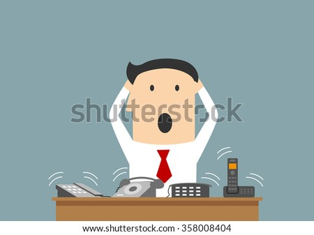 Cartoon businessman clutching a head in panic on workplace. In office many telephone calls at once. Business concept of overwork and stress - stock vector
